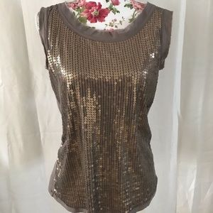 Loft gold sequin sleeveless top size medium glam